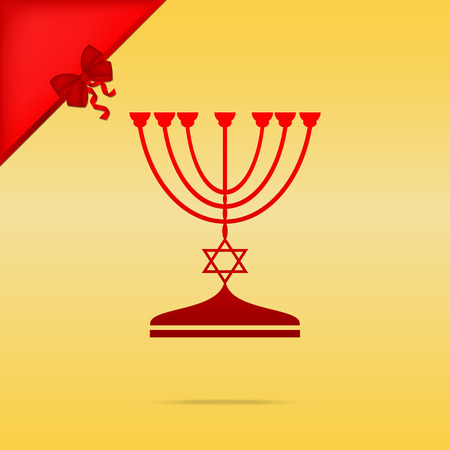 Jewish Menorah candlestick in black silhouette. Cristmas design red icon on gold background.