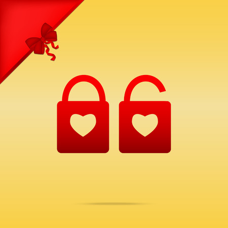 door lock love: lock sign with heart shape. A simple silhouette of the lock. Shape of a heart. Cristmas design red icon on gold background.