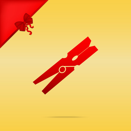 Clothes peg sign. Cristmas design red icon on gold background.
