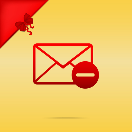 Mail sign illustration. Cristmas design red icon on gold background. Illustration
