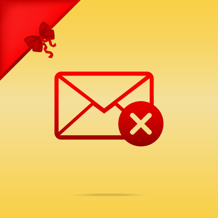 Mail sign illustration with cacel mark. Cristmas design red icon on gold background.