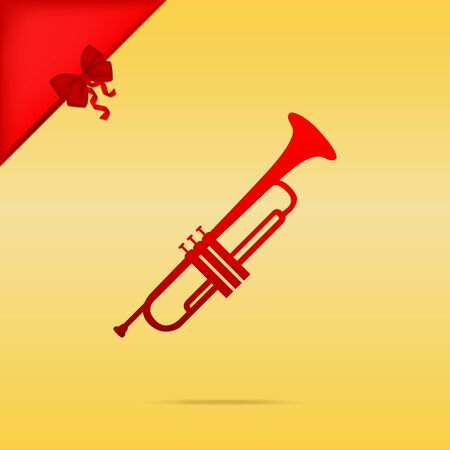 Musical instrument Trumpet sign. Cristmas design red icon on gold background.