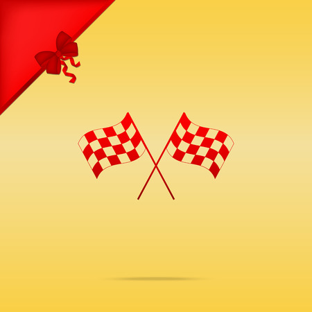 Crossed checkered flags logo waving in the wind conceptual of motor sport. Cristmas design red icon on gold background. Illustration