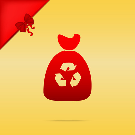 Trash bag icon. Cristmas design red icon on gold background. Illustration