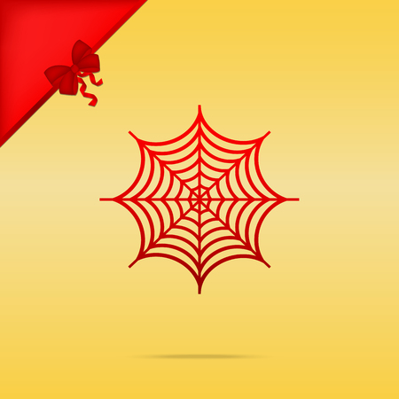 Spider on web illustration. Cristmas design red icon on gold background. Illustration
