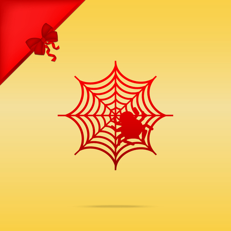 Spider on web illustration Cristmas design red icon on gold background.