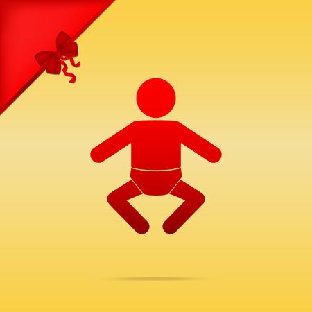 Ilustración de signo de bebé. Cristmas diseño icono rojo sobre fondo de oro.
