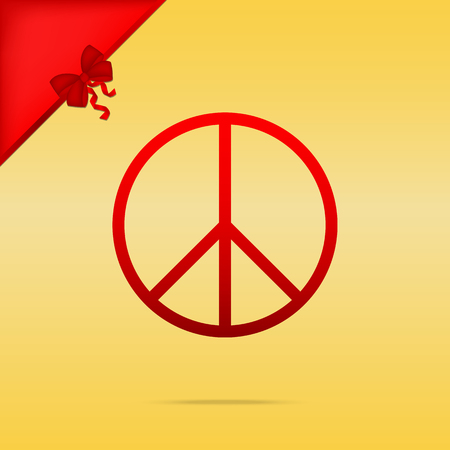Peace sign illustration. Cristmas design red icon on gold background. Illustration