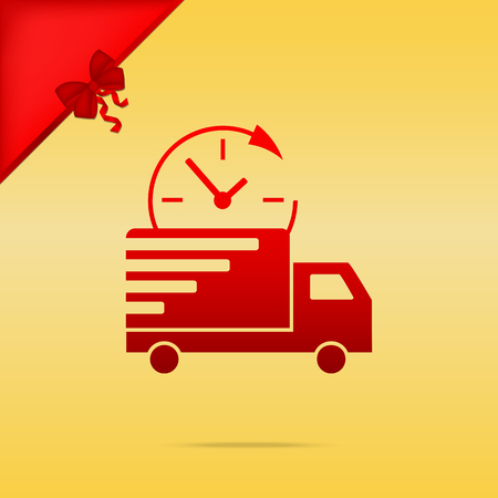 Delivery sign illustration. Cristmas design red icon on gold background. Illustration