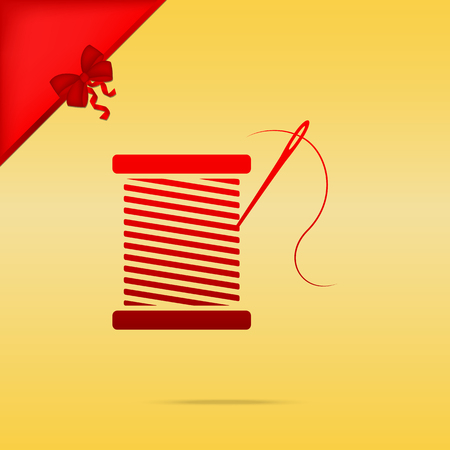 Thread with needle sign illustration. Cristmas design red icon on gold background.