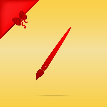 Brush sign illustration. Cristmas design red icon on gold background.