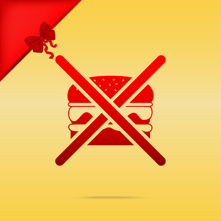 No burger sign. Cristmas design red icon on gold background. Illustration