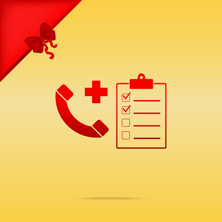 Medical consultration sign. Cristmas design red icon on gold background.