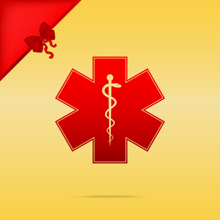 staff of aesculapius: Medical symbol of the Emergency or Star of Life. Cristmas design red icon on gold background. Illustration