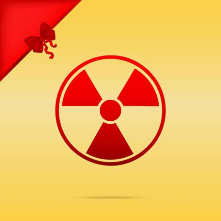 Radiation Round sign. Cristmas design red icon on gold background. Illustration