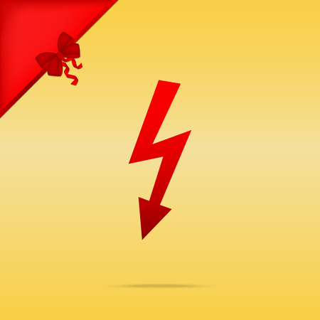 High voltage danger sign. Cristmas design red icon on gold background.