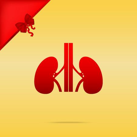 medical illustration: Human kidneys sign. Cristmas design red icon on gold background.