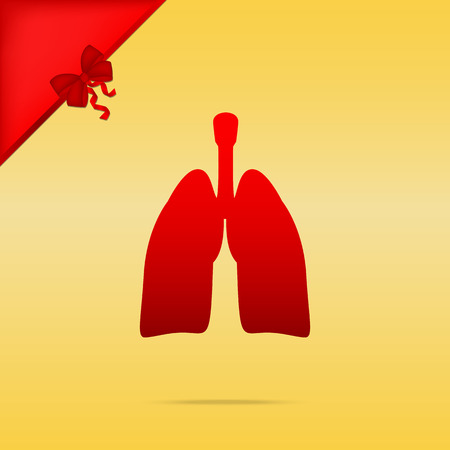 Cristmas: Human organs Lungs sign. Cristmas design red icon on gold background.