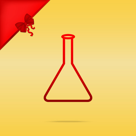 Signo de frasco cónico. Cristmas diseño icono rojo sobre fondo de oro.