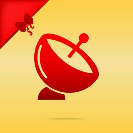 Satellite dish sign. Cristmas design red icon on gold background. Illustration