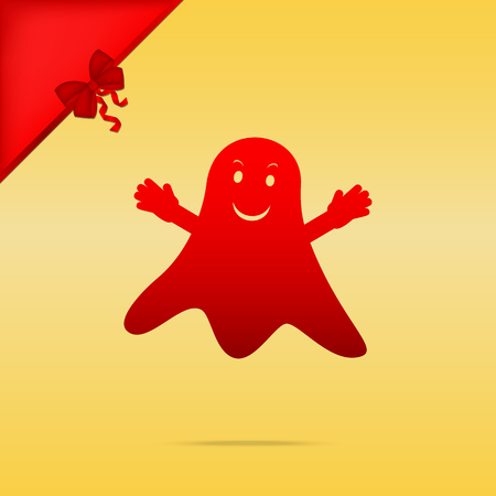 Ghost isolated sign. Cristmas design red icon on gold background. Illustration