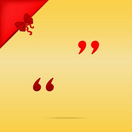 Quote sign illustration. Cristmas design red icon on gold background. Illustration