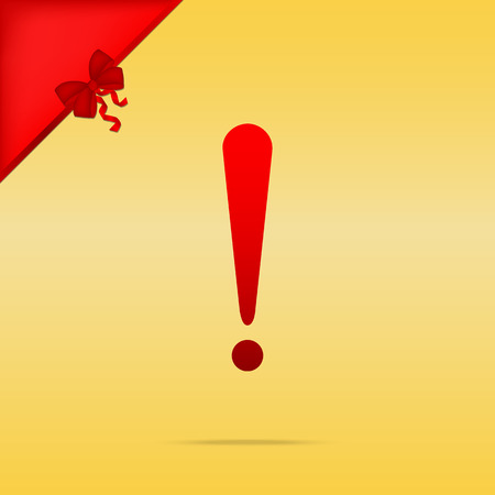 Attention sign illustration. Cristmas design red icon on gold background.