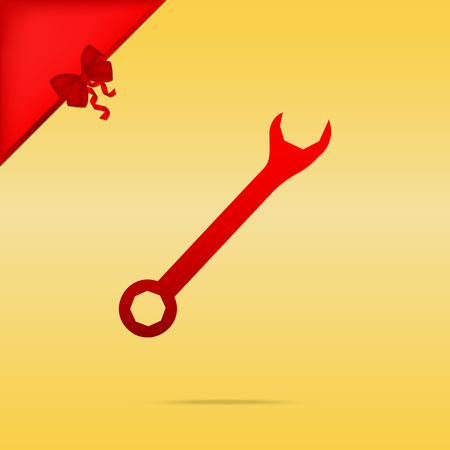 Crossed wrenches sign. Cristmas design red icon on gold background.