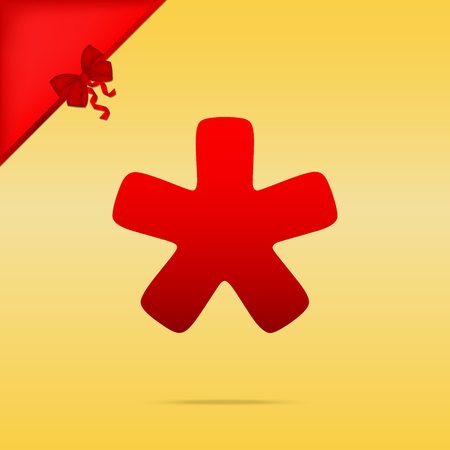 Asterisk star sign. Cristmas design red icon on gold background. Иллюстрация
