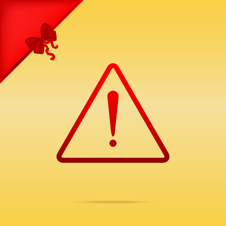Exclamation danger sign. Flat style. Cristmas design red icon on gold background. Illustration