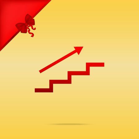 stair: Stair with arrow. Cristmas design red icon on gold background. Illustration
