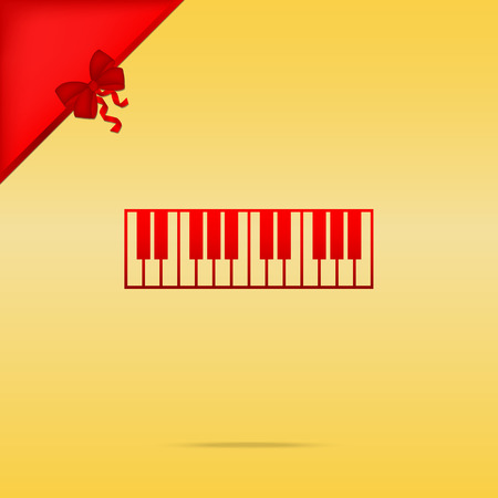 acoustically: Piano Keyboard sign. Cristmas design red icon on gold background.