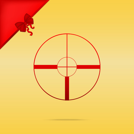 Sight sign illustration. Cristmas design red icon on gold background.