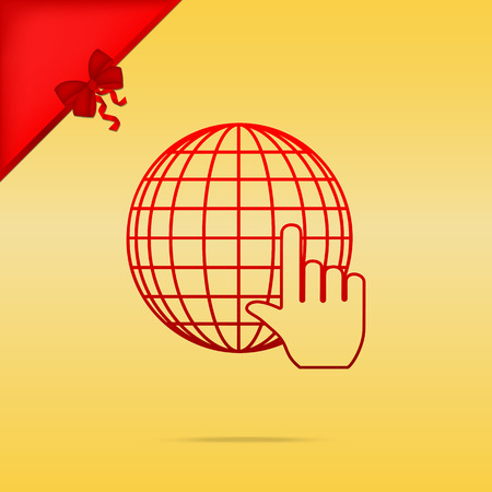 gold earth: Earth Globe with cursor. Cristmas design red icon on gold background. Illustration
