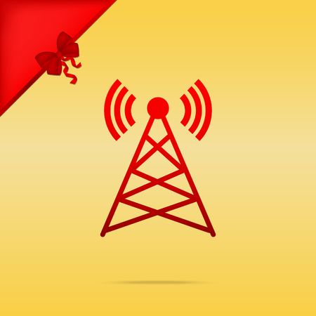 Antenna sign illustration. Cristmas design red icon on gold background. Illustration