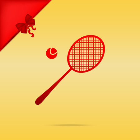 Tennis racquet sign. Cristmas design red icon on gold background.