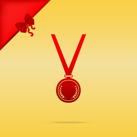 Medal simple sign. Cristmas design red icon on gold background.