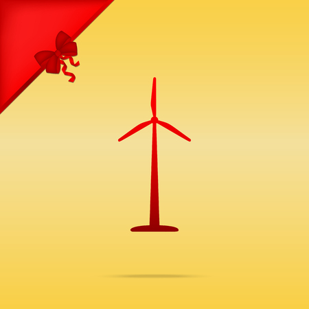 Wind turbine logo or sign. Cristmas design red icon on gold background.