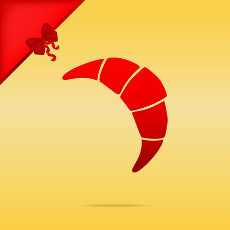 Croissant simple sign. Cristmas design red icon on gold background.
