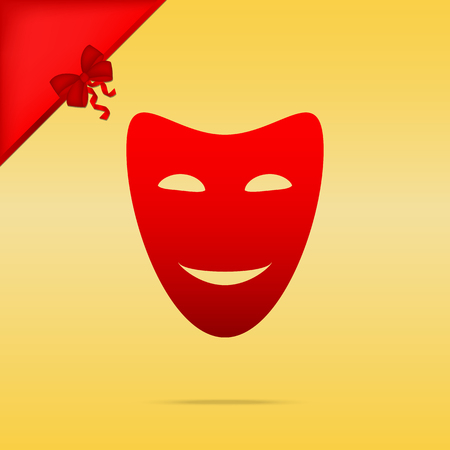 comedy background: Comedy theatrical masks. Cristmas design red icon on gold background.