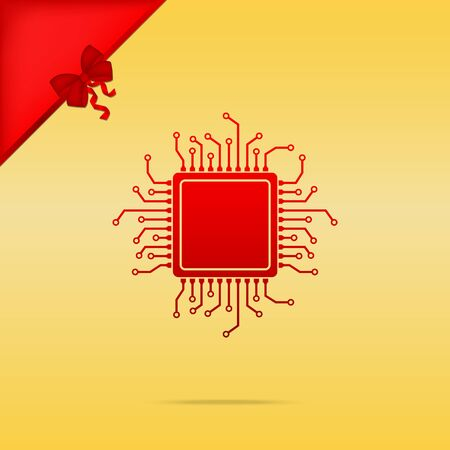 micro chip: CPU Microprocessor illustration. Cristmas design red icon on gold background.
