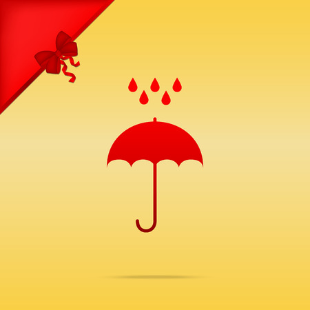 Umbrella with water drops. Rain protection symbol. Flat design style. Cristmas design red icon on gold background.