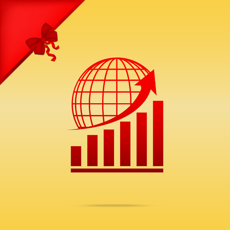 gold earth: Growing graph with earth. Cristmas design red icon on gold background.
