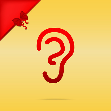 tapping: Human ear sign. Cristmas design red icon on gold background. Illustration