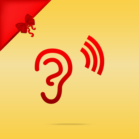 audible: Human ear sign. Cristmas design red icon on gold background. Illustration