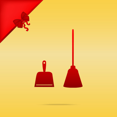 whisk broom: Dustpan vector sign. Scoop for cleaning garbage housework dustpan equipment. Cristmas design red icon on gold background. Illustration