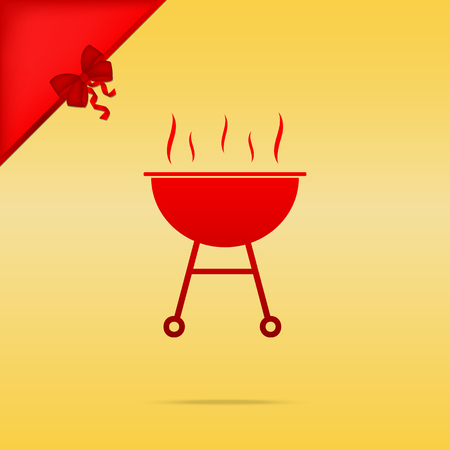 Barbecue simple sign. Cristmas design red icon on gold background. Illustration