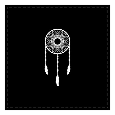 Dream catcher sign. Black patch on white background. Isolated.