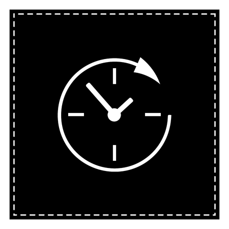 Service and support for customers around the clock and 24 hours. Black patch on white background. Isolated. Illustration