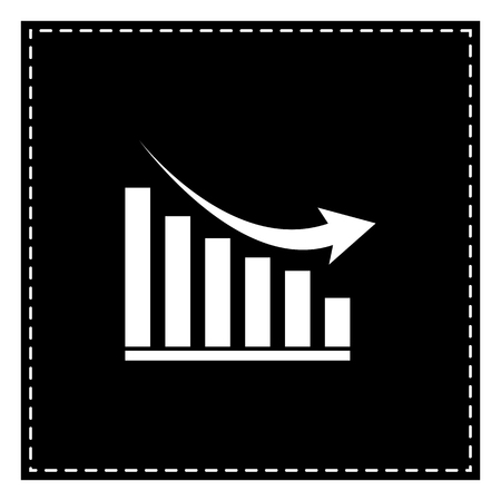 Declining graph sign. Black patch on white background. Isolated. Illustration